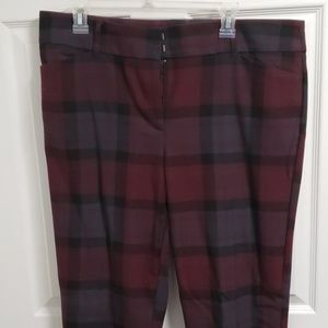 Loft Modern Skinny Ankle Pants Maroon Plaid